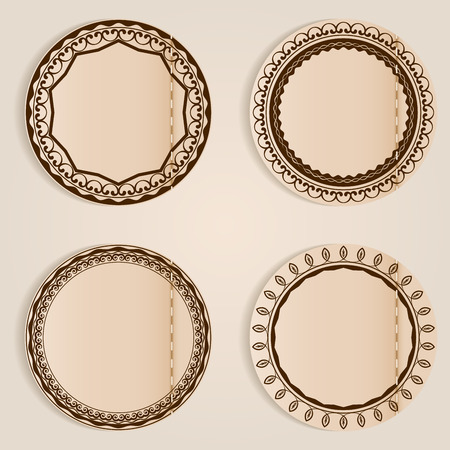 beige: Stitched retro labels with ornament and copy space. Illustration