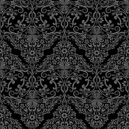 Monochrome noir transparent et vecteur motif de papier peint floral gris. Banque d'images - 61847194