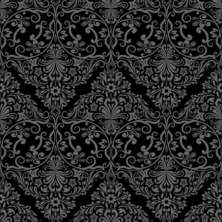 Print design: Seamless monochrome black and grey floral vector wallpaper pattern. Illustration