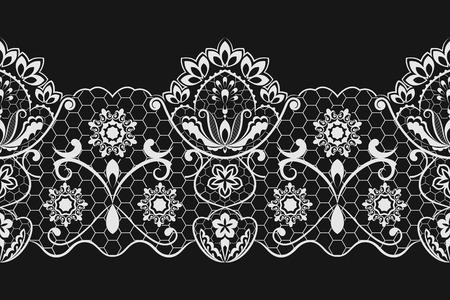 Naadloze zwarte en witte horizontale kant vector patroon.