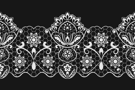 tatting: Seamless black and white horizontal lace vector pattern. Illustration