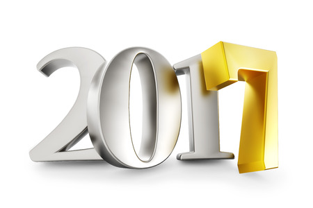 new year eve: New 2017 year silver figures with gold 7 isolated on white background. 3D rendering. Stock Photo