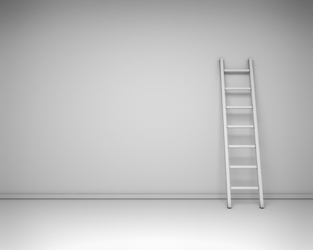 backstairs: White interior with the leaned ladder against the wall concept. 3D rendering background. Stock Photo