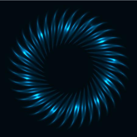 Abstract dark blue glowing vortex vector background.