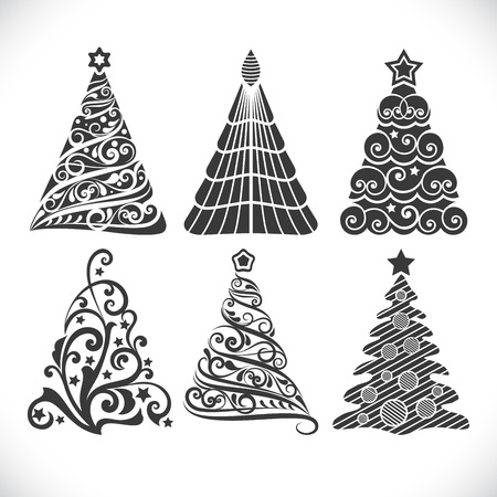 black tree: Christmas tree black shapes set isolated on white background for winter designs.