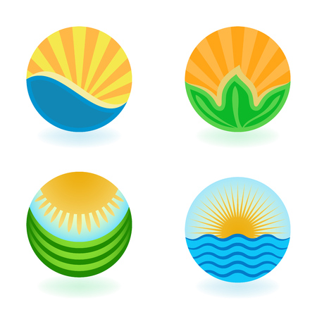 Colorful summer round emblems vector set isolated on white background.