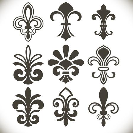 royal french lily symbols: Black fleur de lis shapes vector set isolated on white background. Design elements for vintage designs. Illustration
