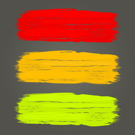 Color brush strokes vector template isolated on dark grey background.