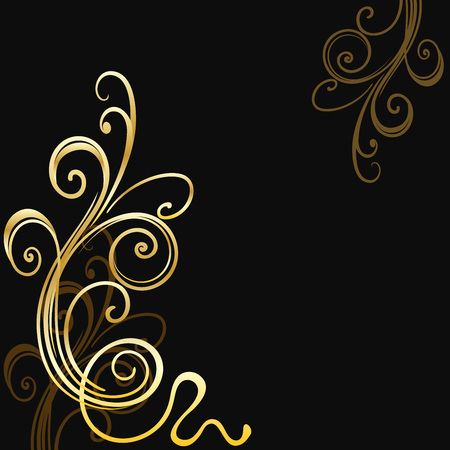 black swirls: Black vector backgrounds with golden swirls and copy space. Vector invitation template. Illustration