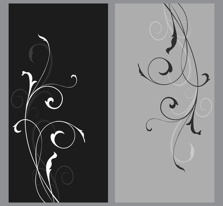 grey backgrounds: Black and grey floral vector cards template with coly space. Simple floral branch vertical backgrounds.