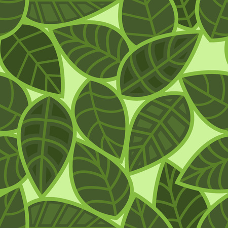 antiquarian: Abstract seamless green leaves vector pattern.