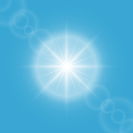 sun flare: Sun flare on blue sky vector background. Illustration