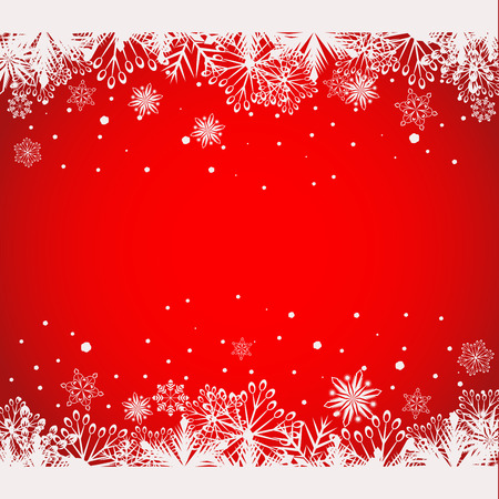 borders abstract: Abstract red Christmas background with white snowflake borders vector template with copy space. Illustration