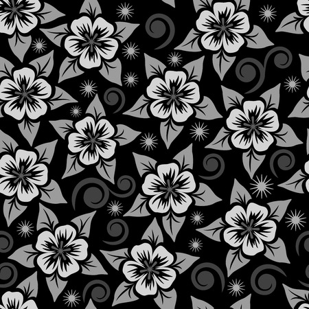 affected: Abstract seamless black, grey and white flower ornamental vector pattern.
