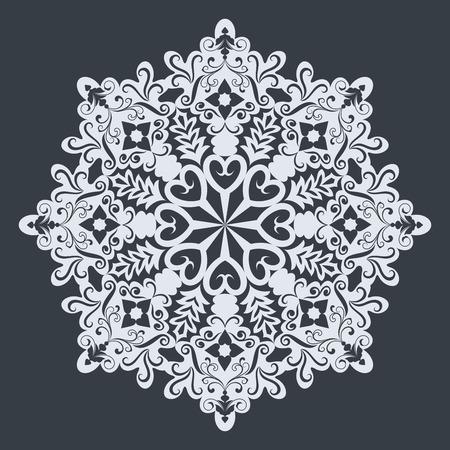 Big white ornamental snowflake on black background. Christmas design.