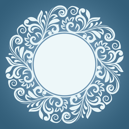 round frame abstract winter floral frame vector template blue and white round ornamental frame