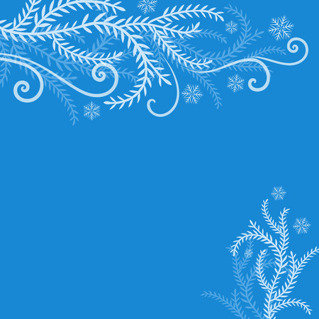 frosted: Abstract blue winter frosted branches Christmas background with copy space. Christmas greeting card vector template. Illustration