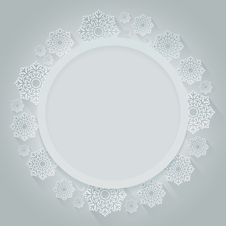 christmas snowflakes: Christmas round frame decorated with white snowflakes vector card template. Illustration