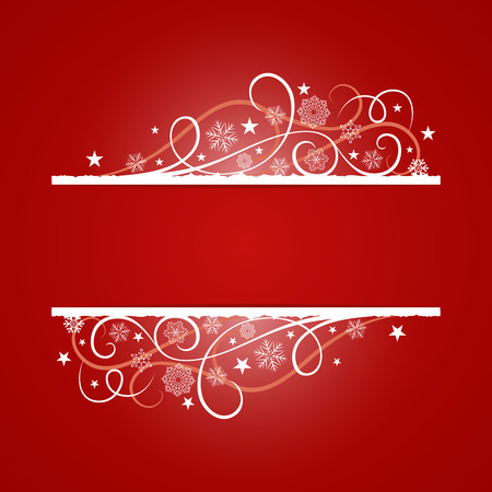 christmas banner: Red Christmas banner with snowflake ornament vector template. Christmas card with copy space.