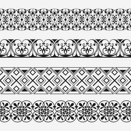 Seamless Floral Ornamental Border Vector Patterns Black And Best Vector Patterns