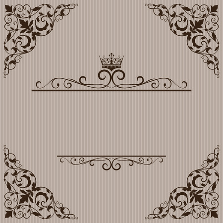 title page: Vintage brown title page vector template with floral ornament and crown. Illustration
