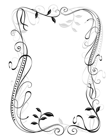 Abstract black and white vintage floral frame vector template with white copy space. Illustration