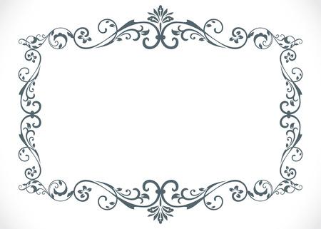 Marco blanco y negro de la vendimia floral con la plantilla del vector del espacio de la copia. Ilustración de vector