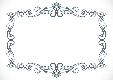Black and white floral vintage frame with copy space vector template.