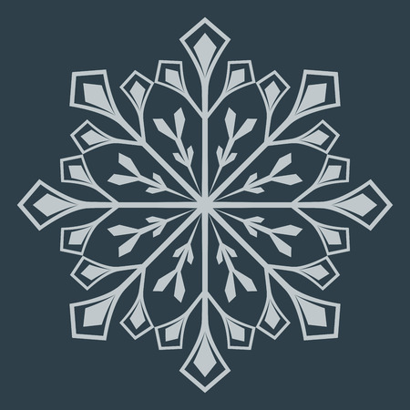 Abstract snowflake shape isolated on dark background. Vector illustration.