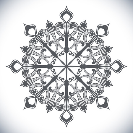 white winter: Black snowflake shape isolated on white background. Winter design element.