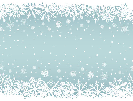 borders abstract: Abstract Christmas background with white snowflake borders and copy space in the center. Vector illustration.