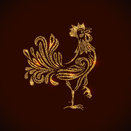 placer: Gold rooster shape tinsel placer vector card. 2017 New Year Chinese symbol.