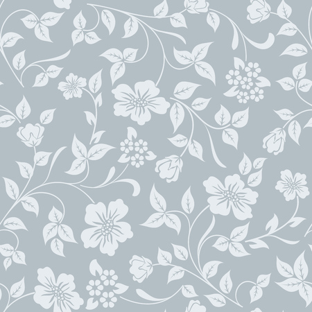 winter flower: Seamless grey and white flower vector background. Winter colored pattern for gift wrapping paper.