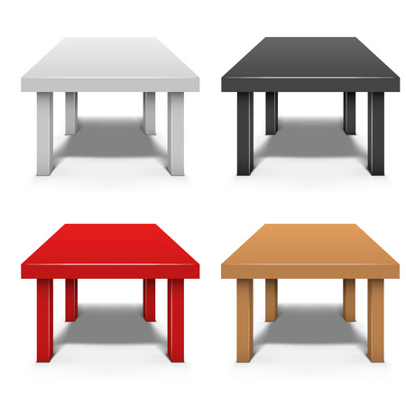 side table: Small coffee table isolated on white background vector template in white, black, red and brown color.