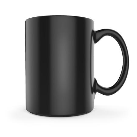 Black tea or coffee mug side view. 3D rendering.