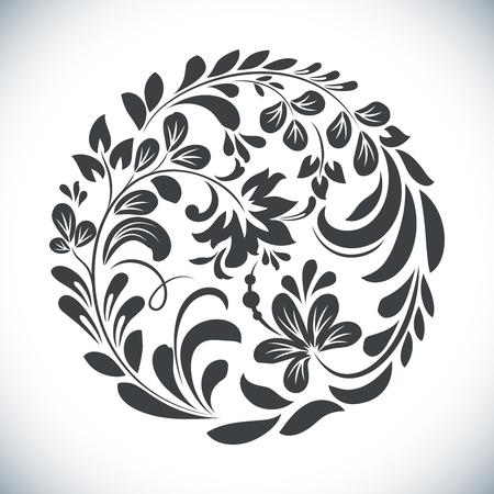 Zwart en wit ronde bloemen element vectorillustratie. Cirkeldiebloemontwerp op witte achtergrond wordt geïsoleerd.
