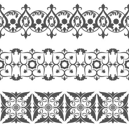 vintage border: Seamless floral border vector template. Ornament repeating divider. Illustration