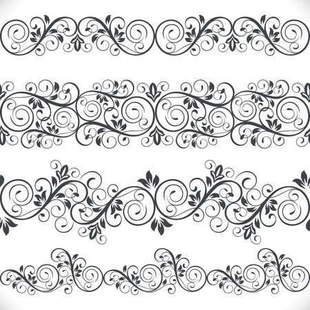 Seamless floral border vector template. Ornament repeating divider. Illustration