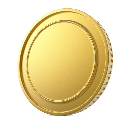 riches: Blank gold coin isolated on white background. 3D rendering.