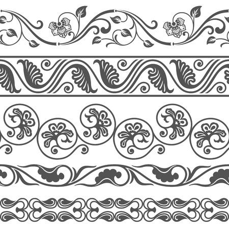 Nahtlose floralen Grenze Vektor-Vorlage. Ornament Wiederholungs Teiler. Vektorgrafik
