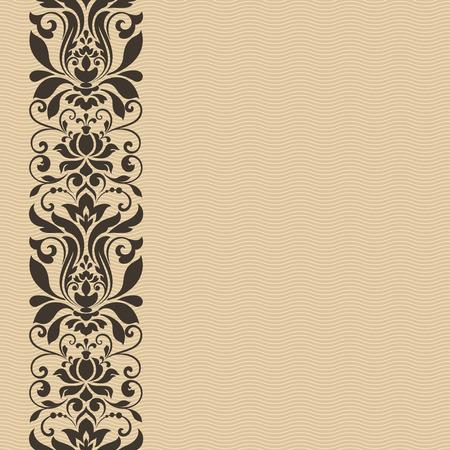 vertical dividers: Seamless vintage floral border vector card template.