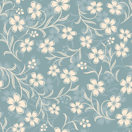 winter flower: Seamless blue grey flower vector background. Wallpaper or wrapping paper pattern.