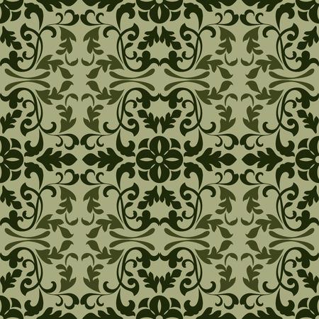 old square: Dark green vintage wallpaper pattern vector illustration.