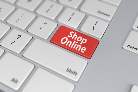online purchase: Shop online red button on white keyboard. E-commerce concept image. 3D rendering.
