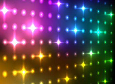 disco: Abstract colorful glittering light wall vector background.