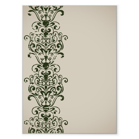 vertical dividers: Title page template with vintage floral vertical ornament vector illustration.