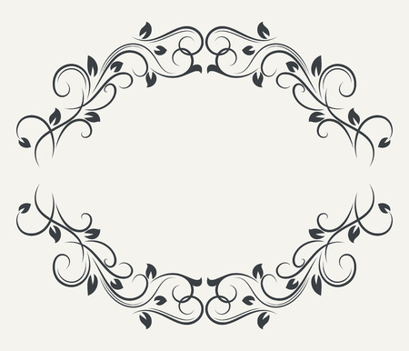 title page: Black and white floral frame vector template. Book title page border design.