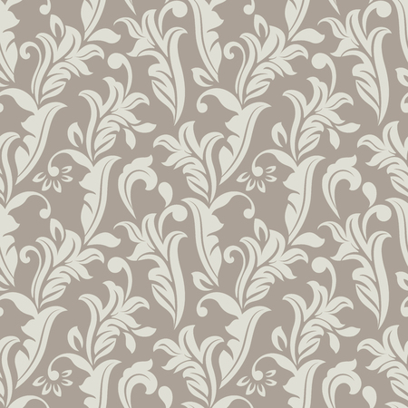 winter flower: Seamless white and beige floral vector background. Wallpaper pattern.
