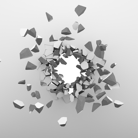 concrete block: Breaking through the white wall background. 3D rendering.