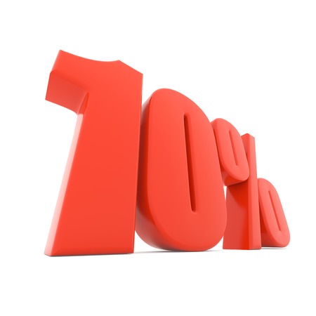 Red 10% discount sign isolated on white background. 3D rendering.